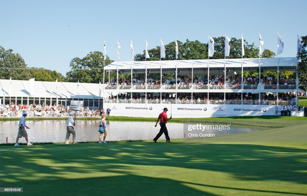 Tiger Woods walks to the 18th green during the final round of BMW Championship the third event of the new PGA TOUR Playoffs for the FedExCup at Cog...