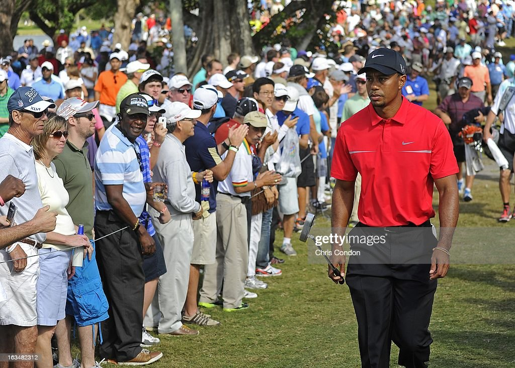 Tiger Woods walks to the 8th tee during the final round of the World Golf Championships-Cadillac Championship at TPC Blue Monster at Doral on March 10, 2013 in Doral, Florida.