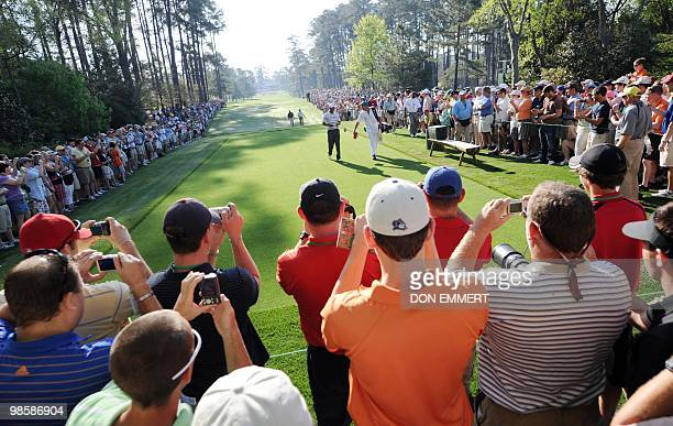 Tiger Woods walks to the tee during a practice round at the Masters golf tournament at Augusta National Golf Club April 5 2010 in Augusta Georgia...