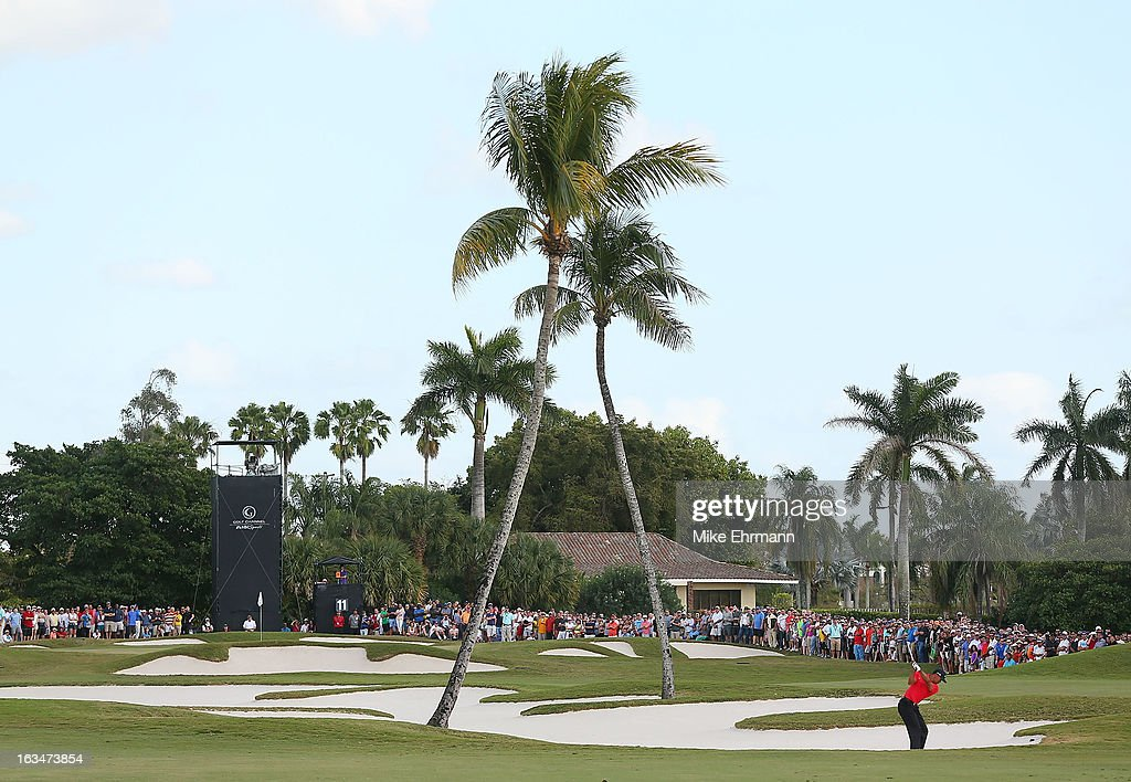 Tiger Woods watches his approach shot on the 11th hole during the final round of the World Golf Championships-Cadillac Championship at the Trump Doral Golf Resort & Spa on March 10, 2013 in Doral, Florida.