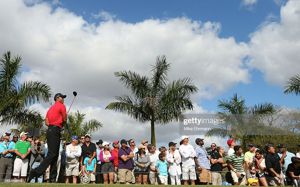 Tiger Woods watches his tee shot on the eighth hole during the final round of the World Golf Championships-Cadillac Championship at the Trump Doral Golf Resort & Spa on March 10, 2013 in Doral, Florida.