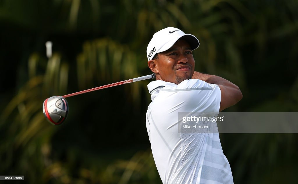 Tiger Woods watches his tee shot on the eighth hole during the third round of the World Golf Championships-Cadillac Championship at the Trump Doral Golf Resort & Spa on March 9, 2013 in Doral, Florida.