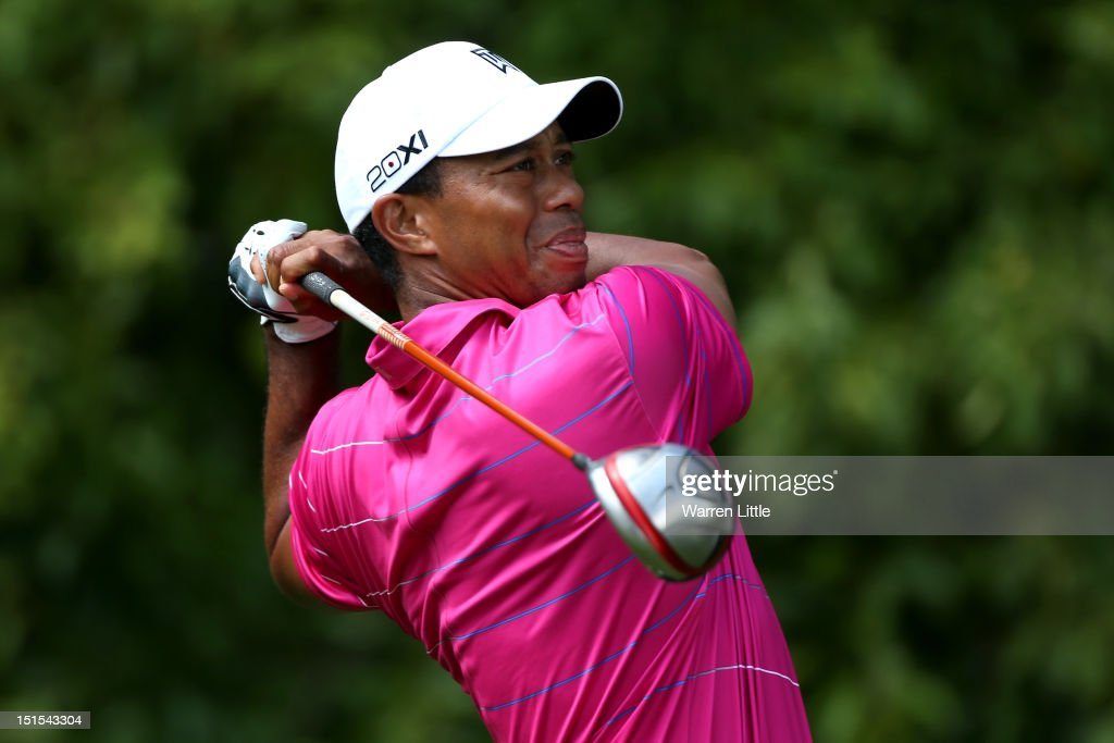 <a gi-track='captionPersonalityLinkClicked' href=/galleries/search?phrase=Tiger+Woods&family=editorial&specificpeople=157537 ng-click='$event.stopPropagation()'>Tiger Woods</a> watches his tee shot on the fifth hole during the third round of the BMW Championship at Crooked Stick Golf Club on September 8, 2012 in Carmel, Indiana.