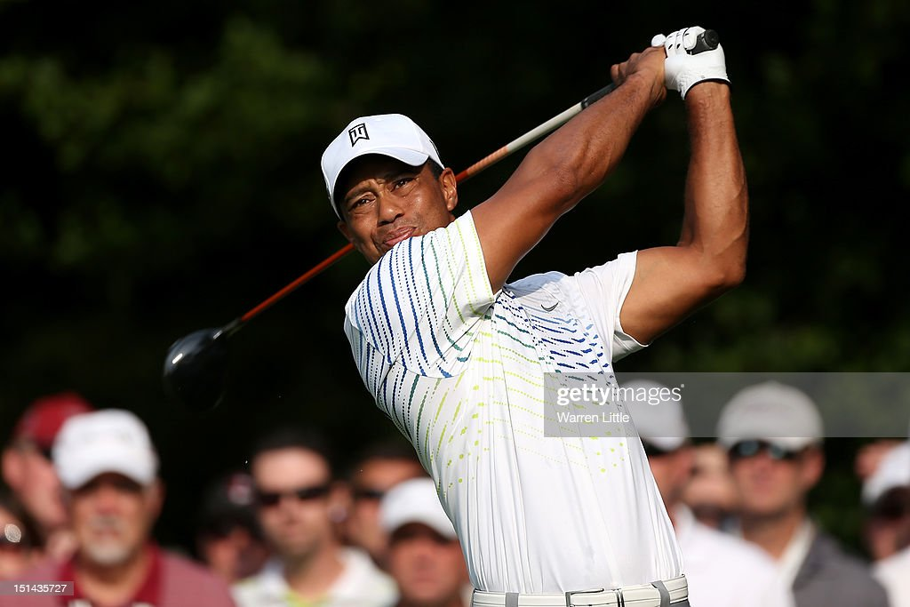 <a gi-track='captionPersonalityLinkClicked' href=/galleries/search?phrase=Tiger+Woods&family=editorial&specificpeople=157537 ng-click='$event.stopPropagation()'>Tiger Woods</a> watches his tee shot on the second hole during the second round of the BMW Championship at Crooked Stick Golf Club on September 7, 2012 in Carmel, Indiana.