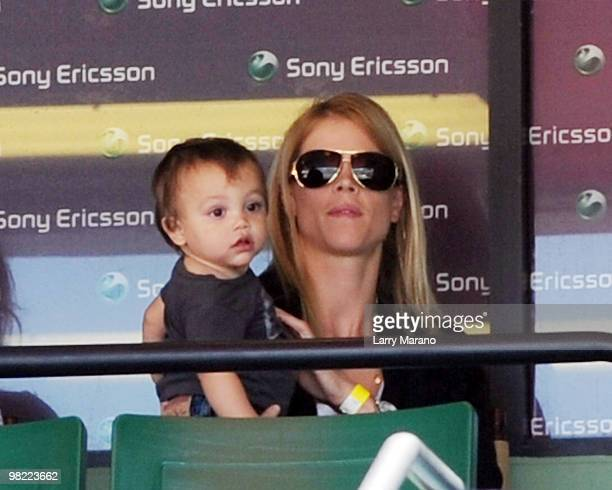 Tiger Woods' wife Elin Nordegren and their son Charlie are seen at Sony Ericsson Open on April 2 2010 in Key Biscayne Florida