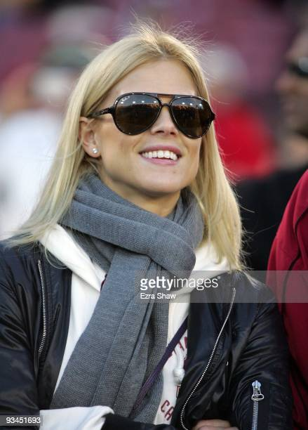 Tiger Woods' wife Elin Nordegren stands on the sidelines before the Cardinal game against the California Bears at Stanford Stadium on November 21...