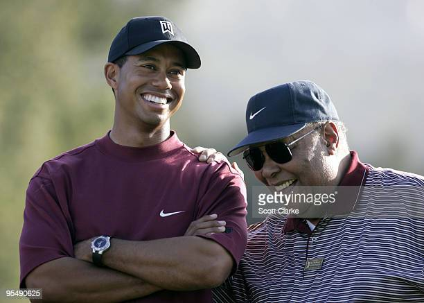 Tiger Woods with his father Earl Woods at the trophy presentation of The Target