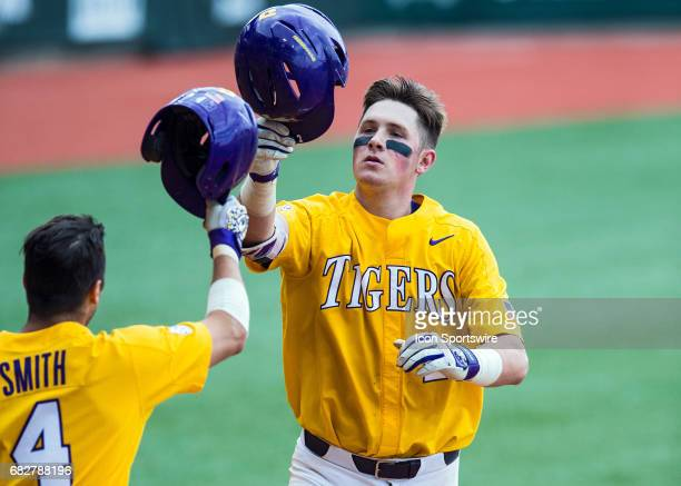 Tigers catcher Michael Papierski circles the bases during a baseball game between the Auburn Tigers and the LSU Tigers on May 13 2017 at Alex Box...