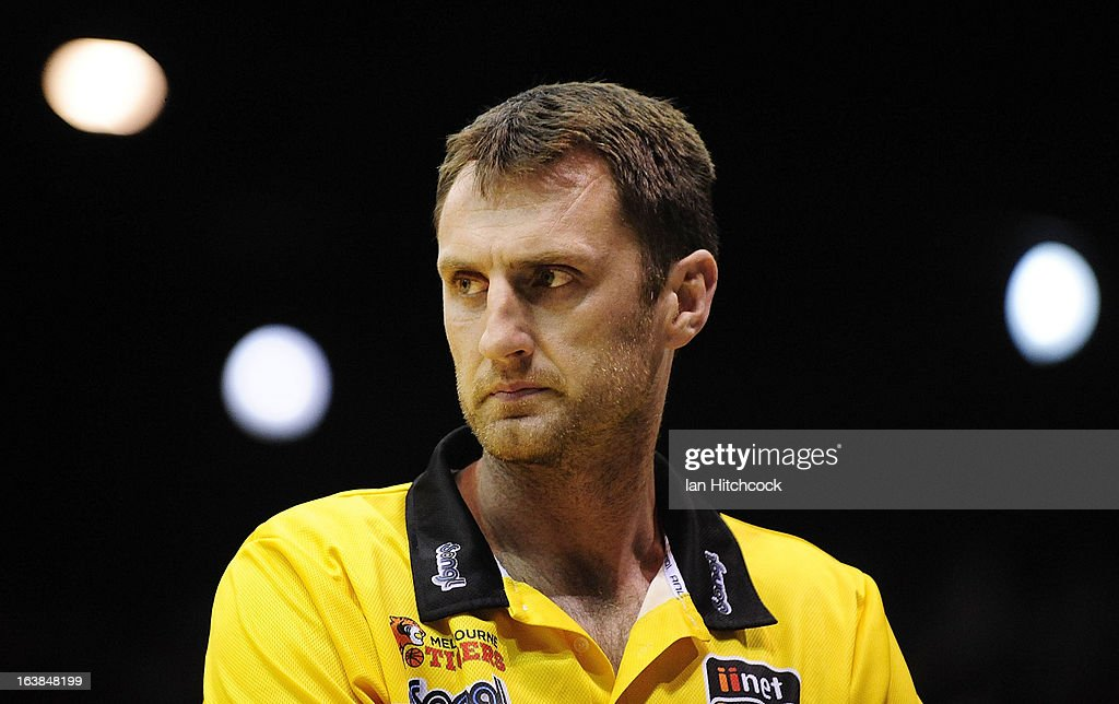 Tigers coach Chris Anstey looks on during the round 23 NBL match between the Townsville Crocodiles and the Melbourne Tigers at Townsville Entertainment Centre on March 17, 2013 in Townsville, Australia.