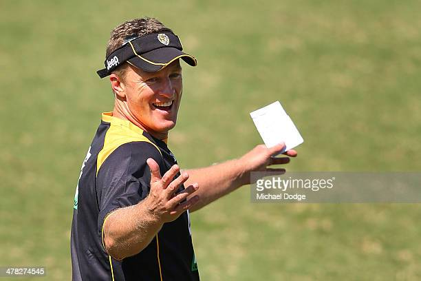 Tigers coach Damien Hardwick gestures during a Richmond Tigers AFL training session at ME Bank Centre on March 13 2014 in Melbourne Australia