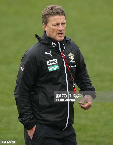 Tigers coach Damien Hardwick looks on during a Richmond Tigers AFL training session at Punt Road Oval on June 21 2017 in Melbourne Australia