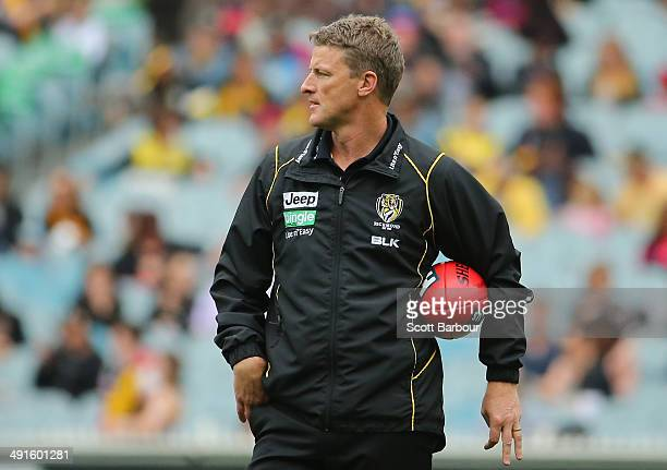 Tigers coach Damien Hardwick looks on during the round nine AFL match between the Richmond Tigers and the Melbourne Demons at Melbourne Cricket...
