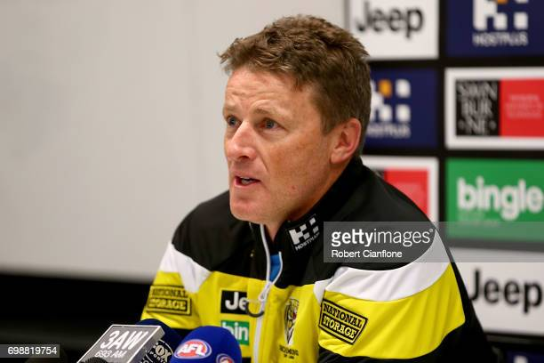Tigers coach Damien Hardwick speaks to the media prior to a Richmond Tigers AFL training session at Punt Road Oval on June 21 2017 in Melbourne...