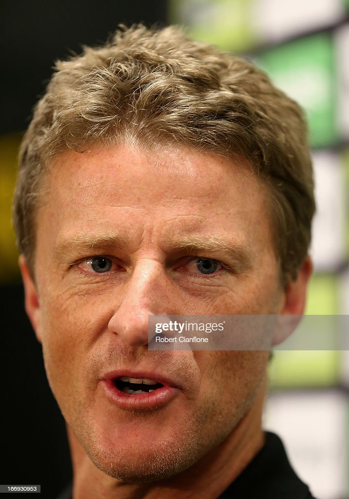 Tigers coach <a gi-track='captionPersonalityLinkClicked' href=/galleries/search?phrase=Damien+Hardwick&family=editorial&specificpeople=162730 ng-click='$event.stopPropagation()'>Damien Hardwick</a> talks to the media prior to a Richmond Tigers AFL training session at ME Bank Centre on April 19, 2013 in Melbourne, Australia.