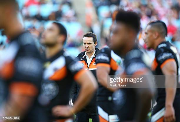 Tigers coach Jason Taylor is pictured before the round 20 NRL match between the St George Illawarra Dragons and the Wests Tigers at ANZ Stadium on...