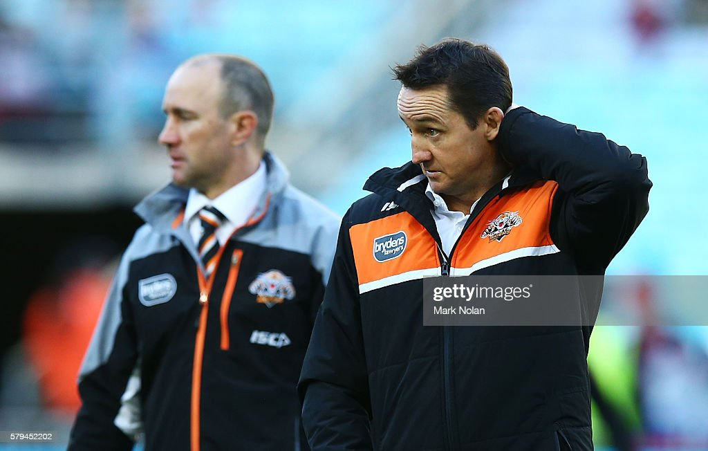 Tigers coach Jason Taylor is pictured before the round 20 NRL match between the St George Illawarra Dragons and the Wests Tigers at ANZ Stadium on July 24, 2016 in Sydney, Australia.