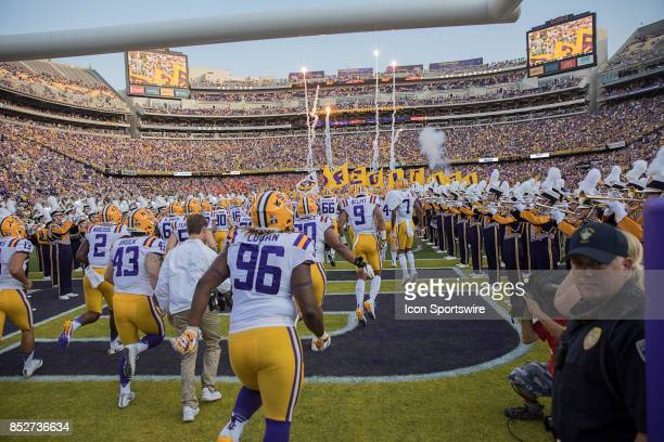 Tigers defensive end Glen Logan runs on the field during a college football game between the LSU Tigers and the Syracuse Orange on September 23 2017...