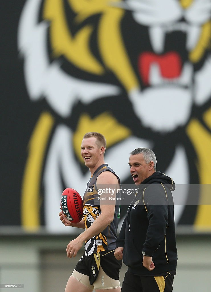 Tigers Development coach Mark Williams talks to Jack Riewoldt during a Richmond Tigers AFL Training session at ME Bank Centre on April 11, 2013 in Melbourne, Australia.
