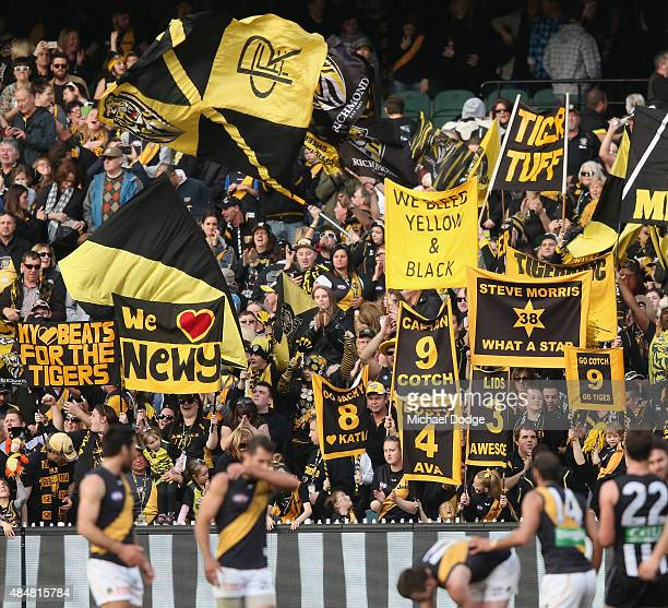 Tigers fans celebrate the win during the round 21 AFL match between the Collingwood Magpies and the Richmond Tigers at Melbourne Cricket Ground on...