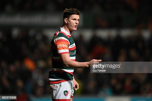 Tigers fly half Freddie Burns makes a point during the European Rugby Champions Cup match between Leicester Tigers and Glasgow Warriors at Welford...