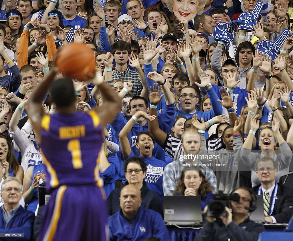 LSU Tigers guard Anthony Hickey (1) has some Kentucky fans in his face during a free throw at Rupp Arena in Lexington, Kentucky, Saturday, January 26, 2013. Kentucky defeated LSU