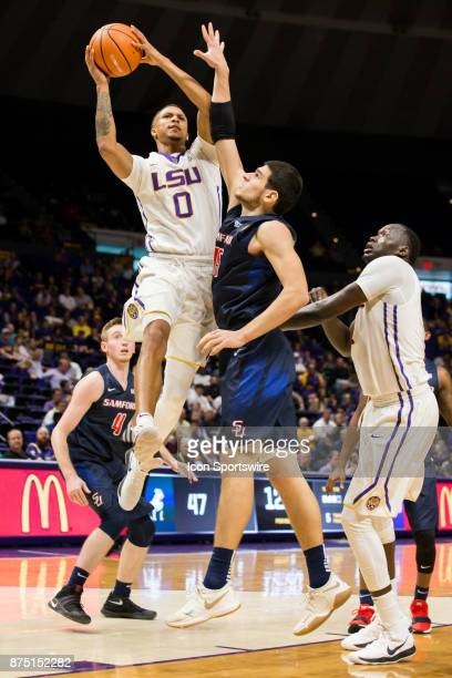 Tigers guard Brandon Sampson drives to the basket against Samford Bulldogs forward Stefan Lakic during the second half on November 16 2017 at Pete...