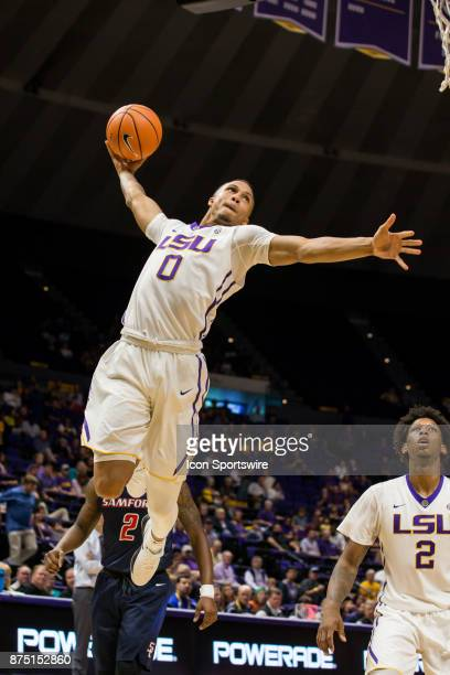 Tigers guard Brandon Sampson dunks the ball against Samford Bulldogs during the second half on November 16 2017 at Pete Maravich Assembly Center in...