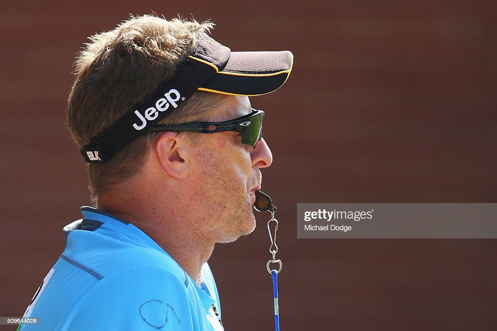Tigers head coach <a gi-track='captionPersonalityLinkClicked' href=/galleries/search?phrase=Damien+Hardwick&family=editorial&specificpeople=162730 ng-click='$event.stopPropagation()'>Damien Hardwick</a> blows the whistle to mak quarter time during the Richmond Tigers AFL intra-club match at Punt Road Oval on February 12, 2016 in Melbourne, Australia.