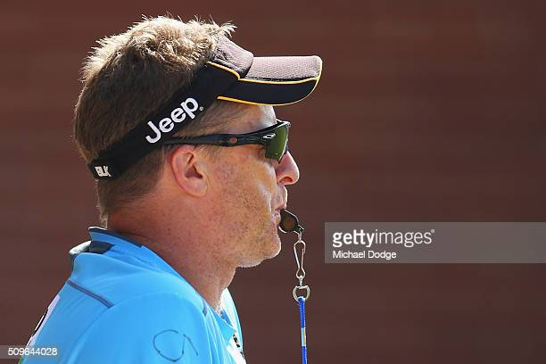 Tigers head coach Damien Hardwick blows the whistle to mak quarter time during the Richmond Tigers AFL intraclub match at Punt Road Oval on February...