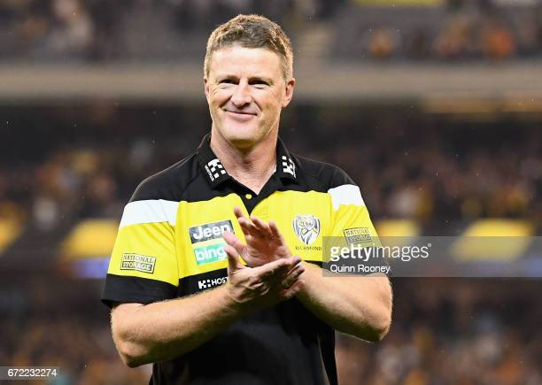 Tigers head coach Damien Hardwick celebrates winning the round five AFL match between the Richmond Tigers and the Melbourne Demons at Melbourne...