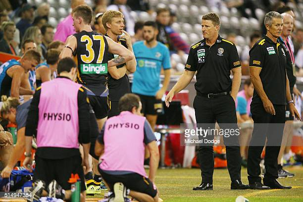 Tigers head coach Damien Hardwick has on outburst due to the amount of injured players he has sustained near the bench in the dying stages during the...
