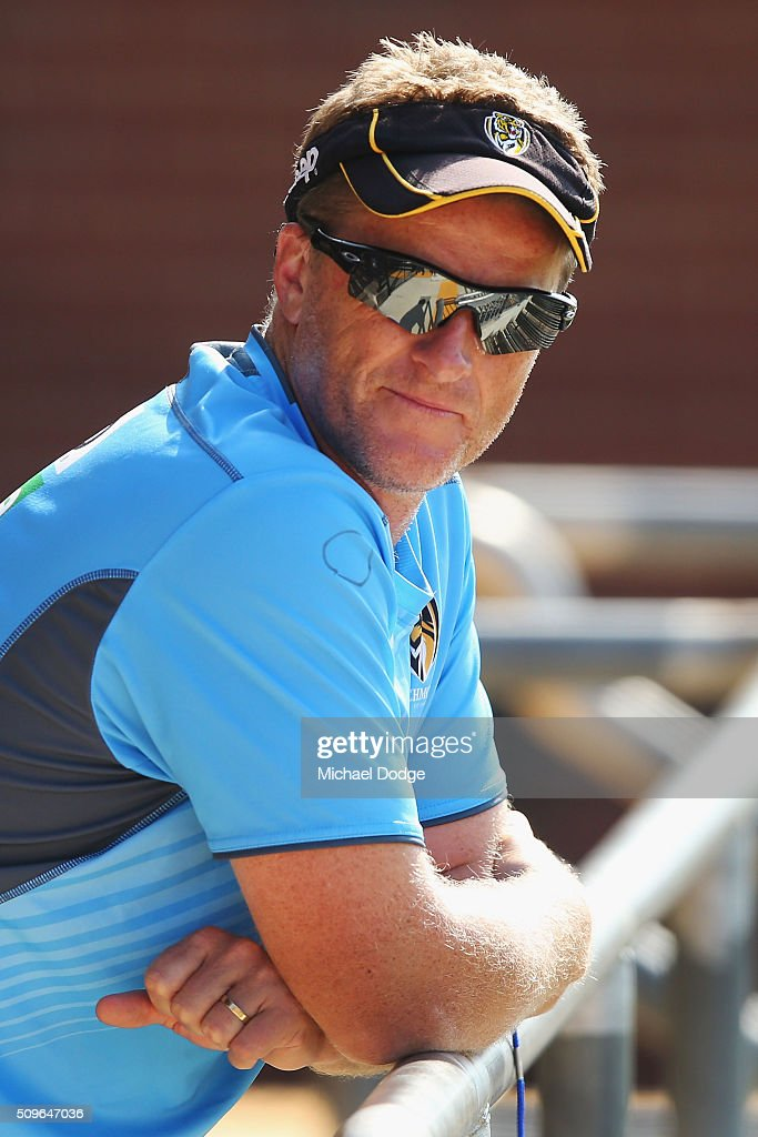 Tigers head coach <a gi-track='captionPersonalityLinkClicked' href=/galleries/search?phrase=Damien+Hardwick&family=editorial&specificpeople=162730 ng-click='$event.stopPropagation()'>Damien Hardwick</a> looks on during the Richmond Tigers AFL intra-club match at Punt Road Oval on February 12, 2016 in Melbourne, Australia.