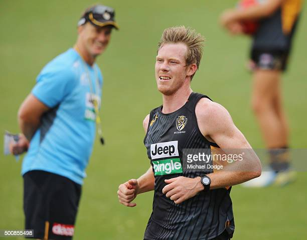 Tigers head coach Damien Hardwick reacts to Jack Riewoldt who runs laps during a Richmond Tigers AFL training session at Punt Road Oval on December...