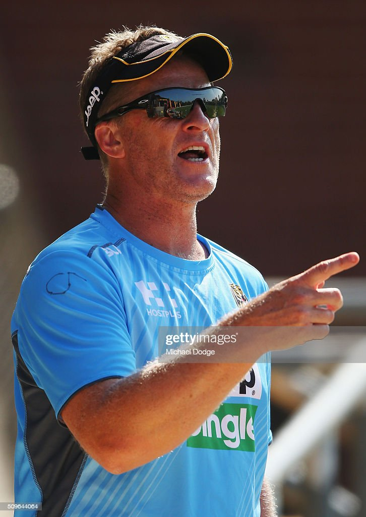Tigers head coach <a gi-track='captionPersonalityLinkClicked' href=/galleries/search?phrase=Damien+Hardwick&family=editorial&specificpeople=162730 ng-click='$event.stopPropagation()'>Damien Hardwick</a> shouts instructions to coaching staff during the Richmond Tigers AFL intra-club match at Punt Road Oval on February 12, 2016 in Melbourne, Australia.