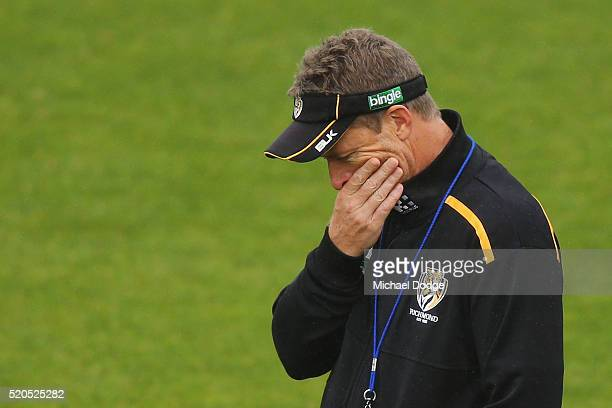 Tigers head coach Damien Hardwick under pressure for the clubs poor start to the season looks thoughtful during a Richmond Tigers AFL media session...