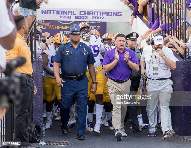 Tigers head coach Ed Orgeron walks out the the tunnel during a college football game between the LSU Tigers and the Syracuse Orange on September 23...