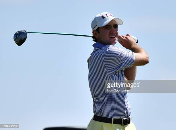 Tigers Philip Barbaree plays the ball from the 17th tee during round four of the 2017 Division I Men's Golf Championships on May 29 2017 at Rich...