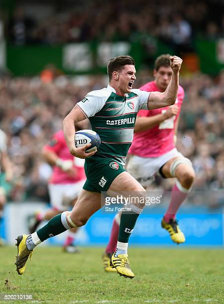 Tigers player Freddie Burns races away to score the third try during the European Rugby Champions Cup Quarter Final match between Leicester Tigers...