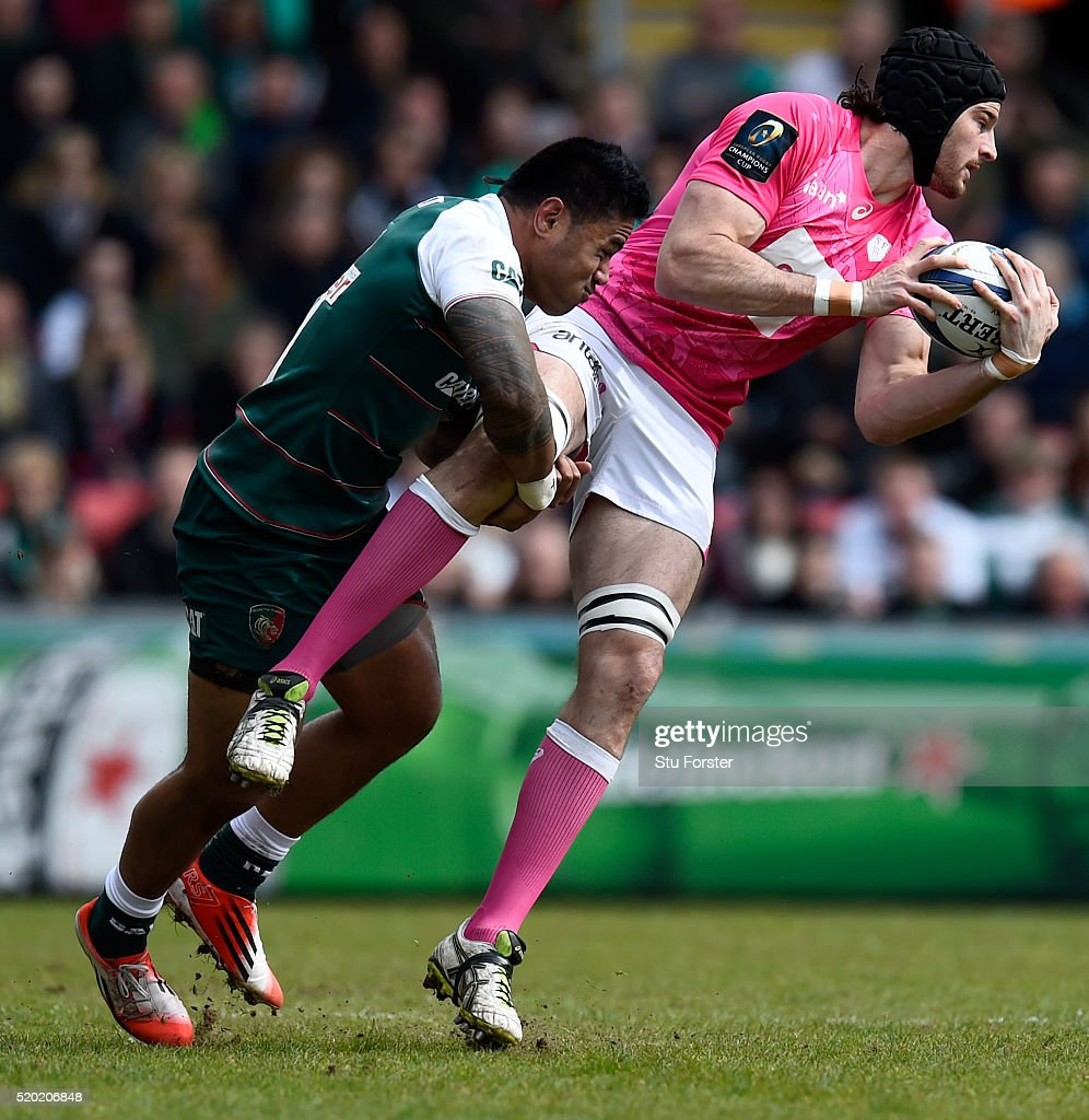 Leicester Centre Manu Tuilagi Is Tackled: Leicester Tigers V Stade Francais Paris