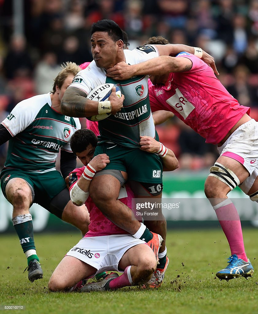 Tigers player Manu Tuilagi runs through the Stade midfield during the European Rugby Champions Cup Quarter Final match between Leicester Tigers and...