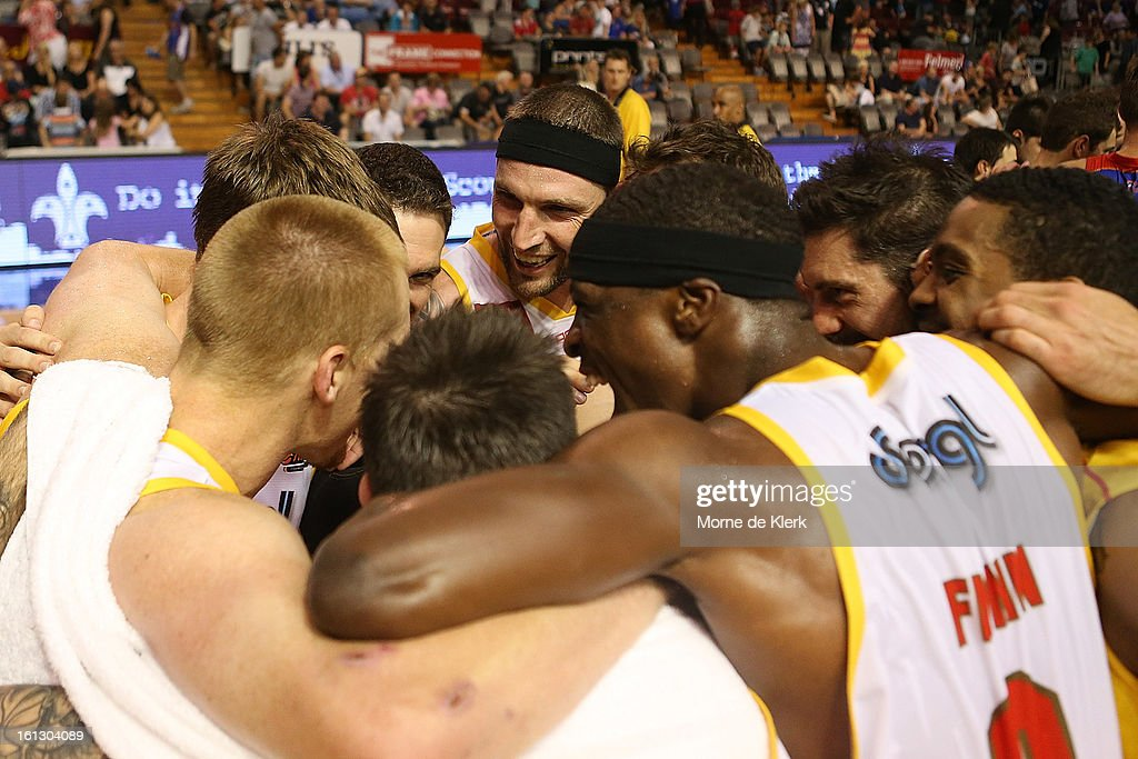 Tigers players celebrate after the round 18 NBL match between the Adelaide 36ers and the Melbourne Tigers at Adelaide Arena on February 10, 2013 in Adelaide, Australia.