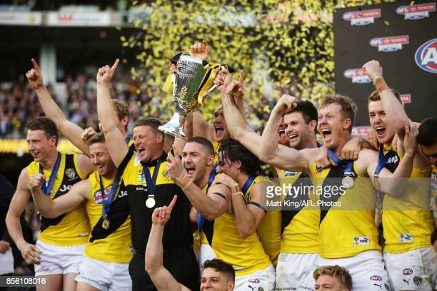 Tigers players celebrate victory after the 2017 AFL Grand Final match between the Adelaide Crows and the Richmond Tigers at Melbourne Cricket Ground...