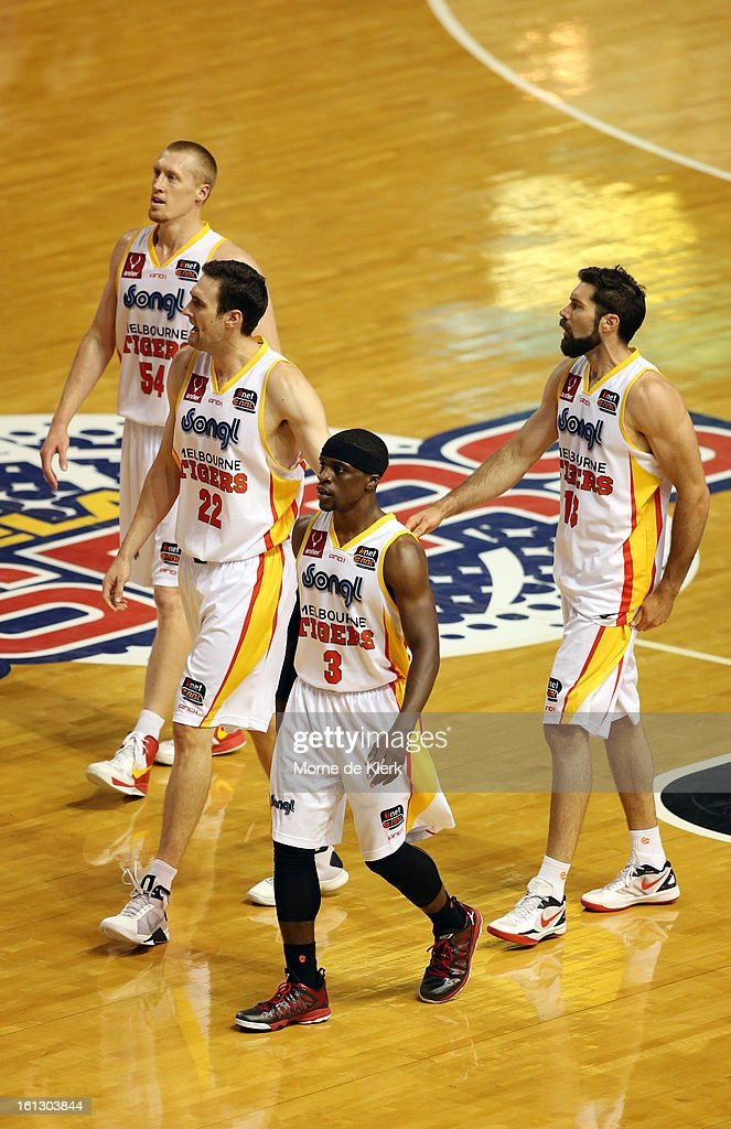 Tigers players move into position during the round 18 NBL match between the Adelaide 36ers and the Melbourne Tigers at Adelaide Arena on February 10, 2013 in Adelaide, Australia.