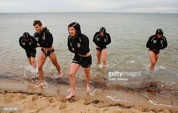 Tigers players walk out of the water during a Richmond Tigers AFL training session at St Kilda Sea Baths on August 14 2012 in Melbourne Australia