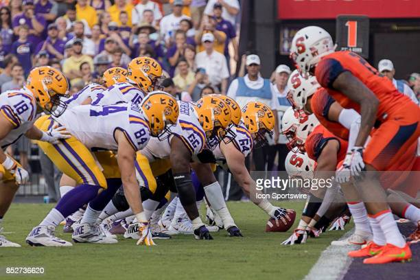 Tigers quarterback Myles Brennan calls for the ball during a college football game between the LSU Tigers and the Syracuse Orange on September 23...