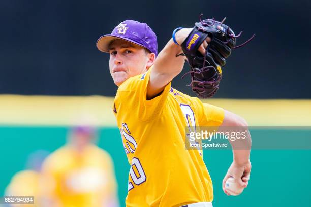 Tigers right handed pitcher Eric Walker throws a pitch during a baseball game between the Auburn Tigers and the LSU Tigers on May 13 2017 at Alex Box...