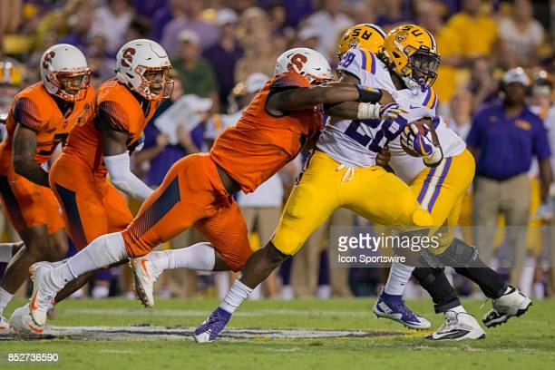 Tigers running back Darrel Williams runs with the ball during a college football game between the LSU Tigers and the Syracuse Orange on September 23...