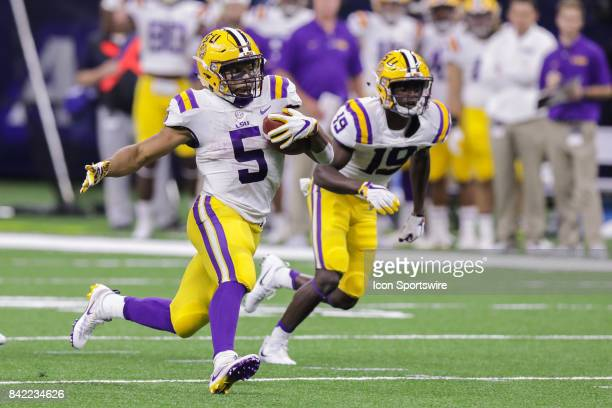 Tigers running back Derrius Guice runs with the ball during the AdvoCare Texas Kickoff BYU v LSU on SEP 02 2017 at MercedesBenz Superdome in New...