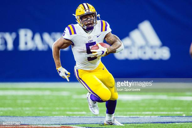 Tigers running back Derrius Guice rushes the ball during a football game between the LSU Tigers and the BYU Cougars in the MercedesBenz Superdome in...