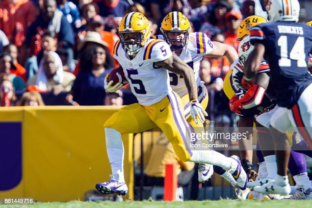 Tigers running back Derrius Guice rushes the ball during a football game between the LSU Tigers and the Auburn Tigers at Tiger Stadium in Baton Rouge...